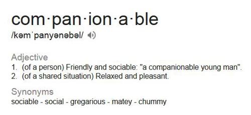 companionable definition